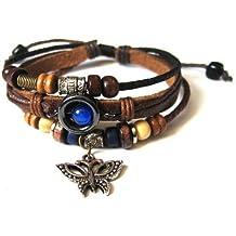 Agathe Creation - Bracelet tibetain porte bonheur - Papillon en bronze - Cuir et Chanvre - Multicolor - Taille sur mesure - Fait main