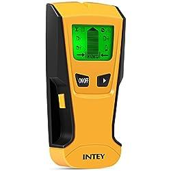 INTEY Détecteur de Matériaux Électrique Multi-fonction Avec Écran LCD et Bip Sonore Stud Finder 3 en 1 Détecteur Métal/Tension/Bois en Jaune