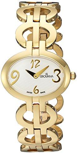 GROVANA 4566,1113 Swiss-Orologio da donna al quarzo con Display analogico e braccialetto in acciaio INOX placcato in oro