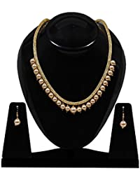 Jewels Gold American Diamond Pearl Necklace Set For Women & Girls