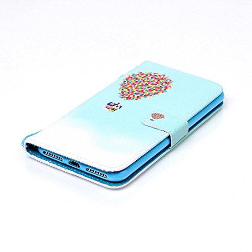 iPhone 7 Plus Coque, Noir Cuir iPhone 7 Plus Etui Rabat Style Prime Portefeuille Case Avec Carte Slots pour Apple iPhone 7 Plus 5.5 inch Avec Don't Touch My Phone Motif Image bleu