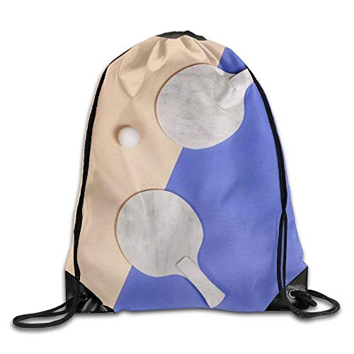 oldable Large Capacity Ping Pong Printed Cute Drawstring Backpack Teen Girl Lightweight Travel Bag Tote Gymnastics 16.9
