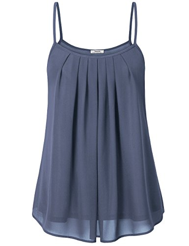 Youtalia Frauen Sommer Cool lässiges ärmelloses gefaltetes Mehrlagen Chiffon Cami Tank Top(Small,Grau) (Top Shirt Chiffon)