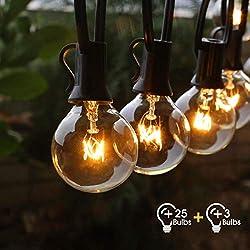 Guirlande Lumineuse Intérieure et Extérieure FOCHEA 9.5M Guirlande Guinguette Raccordable Ultra-longue avec 25 Ampoules+3 Ampoules de Rechange pour Jardin/Terrasse/Salon/Chambre/Sapin de Noël