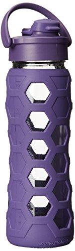 Lifefactory Glas-Trinkflasche mit Flip Top Deckel lila 650ml