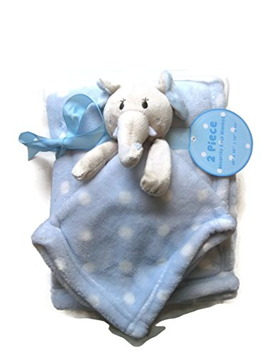 Elephant Security Baby Plush and Blue White Polka Dots Blanket