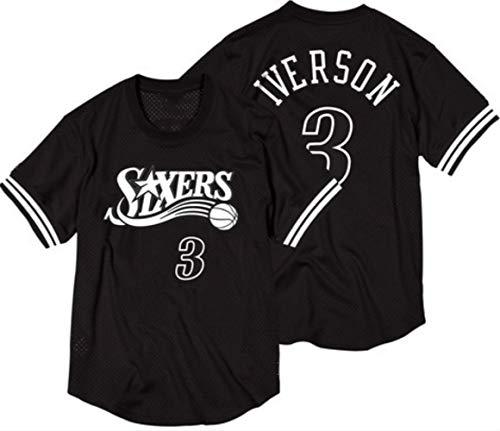 CRBsports Allen Iverson, Camiseta De Baloncesto, Camiseta, 76ers, Edición Clásica, Nueva Tela Bordada, Ropa Deportiva De Botín (Negro, M)