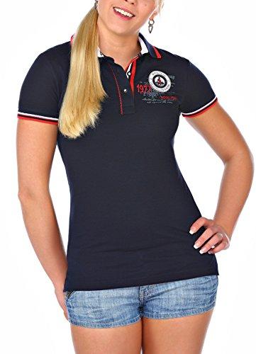 M.Conte Women Polo-Shirt Polo Maglietta Manica corta shirt per donna Katy blu S