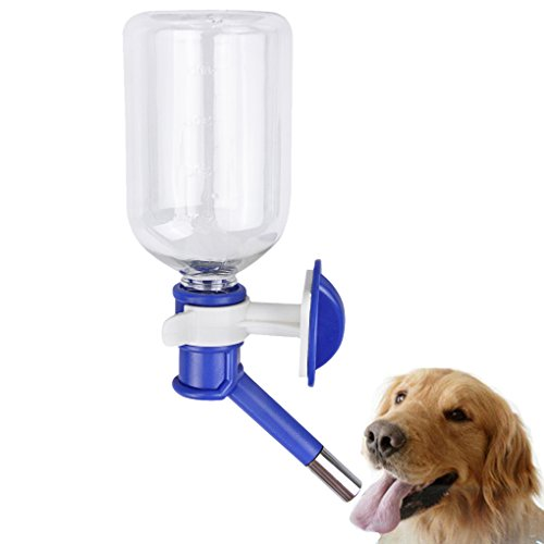 YLucky Dogs - Dispensador de botella de agua portátil de 500 ml para viajes, alimentador automático de fuente sin derrames para mascotas pequeñas, conejo, hurón, hámster o gato