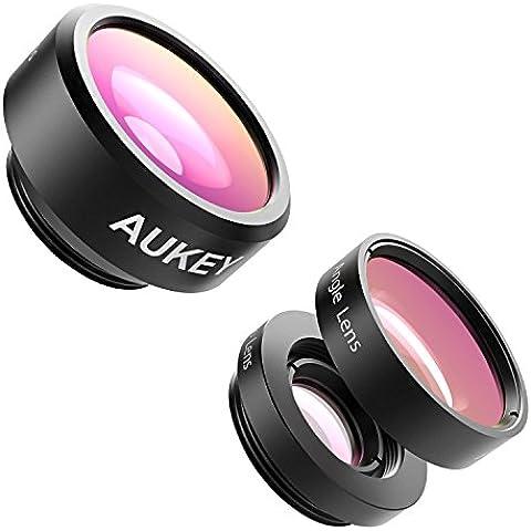 Aukey PL-A3-ES-N - Lentes para móviles (3 en 1, Clip On, lente ojo de pez, 198°) color negro