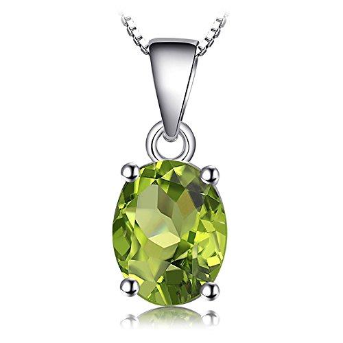 JewelryPalace Oval 1.7ct Natürliches Grün Peridot Birthstone Solitaire Anhänger Echtes 925 Sterling Silber