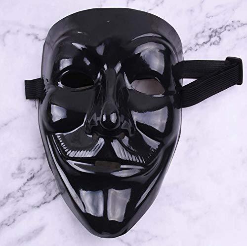 PVC grün Street Dance schwarz V Wort Maske Blut Gesicht Horror Halloween Tänzer Maske - kaltes Licht ohne Blut schwarz (Disco Tänzer Kostüm Kinder)