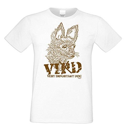 Herren Katzen-T-Shirt für Tier-Freunde als tolle Geschenk-Idee bis Größe 5XL / Print-Katzenmotiv: VID Farbe: weiss Weiß