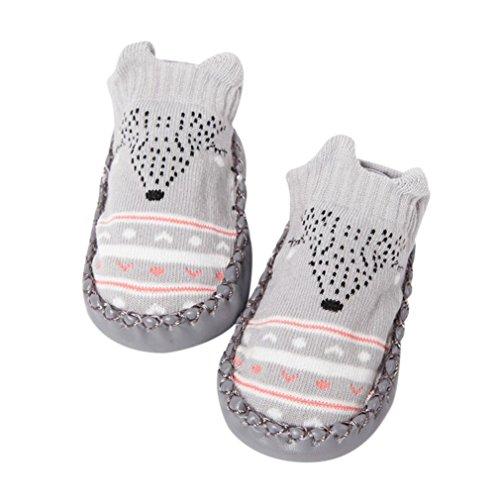 Janly Schuhe für 0-2 Jahre Baby, schöne Anti-Rutsch-Socken Slipper Neugeborenen Indoor Cartoon Tier Mokassins Stiefel Baumwolle Schuhe Junge Mädchen Socken (6-12 Monate, Grau) (Bootie Neugeborenen)