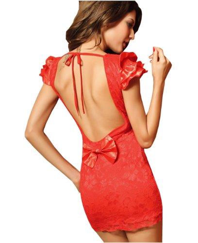 Dissa® Newfashioned nouveau dos nu lacet Bowknot Robe de soirée, Rouge Rouge