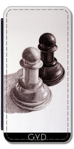 Leder Flip Case Tasche Hülle für Apple iPhone 6 Plus / 6S Plus - Bleistift Gezeichnet Schachfiguren by Boriana Giormova Lederoptik
