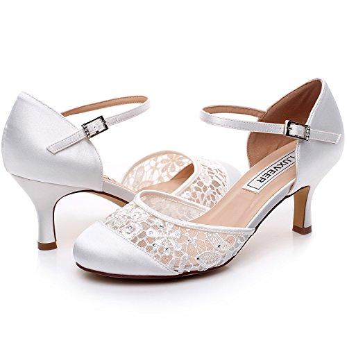 LUXVEER Escarpins Femme Bride cheville Boucle Bout rond Mary Janes Satin Chaussures Pompes a Talon de Mariee Mariage - Heels 6cm Blanc