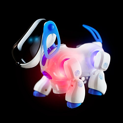 Playtech Logic Electronic Puppy Robot Dog Light Up Girls Boys Toys with Sound for Kids, Pet Nodding Barking and Walking Dog Toy with Bump and Go Function, Blue