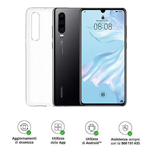 Huawei P30 (Black) Smartphone+Cover, 6GB RAM, Memoria 128 GB, Display 6.1 FHD+,Processore Kirin 980, Tripla Fotocamera Posteriore 40+16+8MP, Fotocamera Anteriore 32MP [Italia]