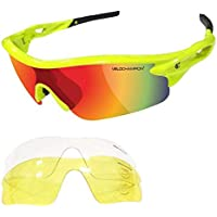 VeloChampion Warp Cycling Running Sports Sunglasses - (with 3 lens: inc revo orange, clear) (Fluoro Yellow Frame with Bl