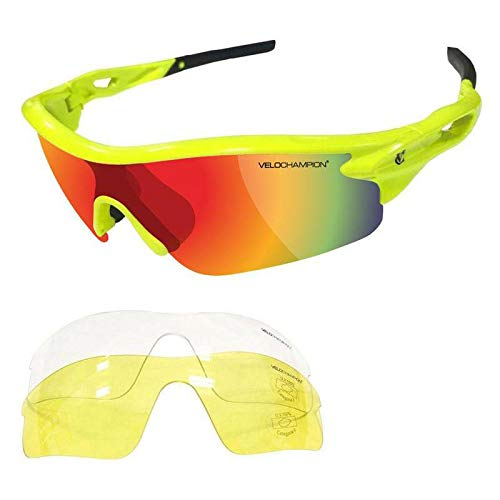 VeloChampion Warp Gafas de Sol (con 3 lentes: inc revo naranja, amarillo, claro) Fluro Amarillo Yellow Sunglasses