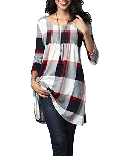 Junshan Femmes Pull Casual Robe Manches Longues Sweats à Capuche T-shirt Robe T-shirt d'impression à Manches Longues Blanc