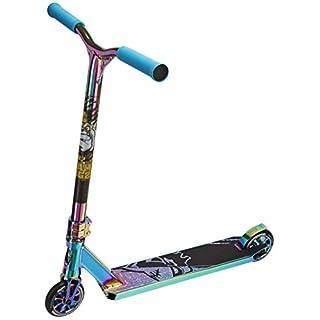 Team Dogz Pro X Ultimate Chrome 360 Stunt-Roller mit HIC-Kompression, 110 mm-Aluräder, Deck und Gestänge aus Aluminium, in NeoChrome-regenbogenfarben / Mattschwarz und Blau / Gold., NeoChrome Rainbow