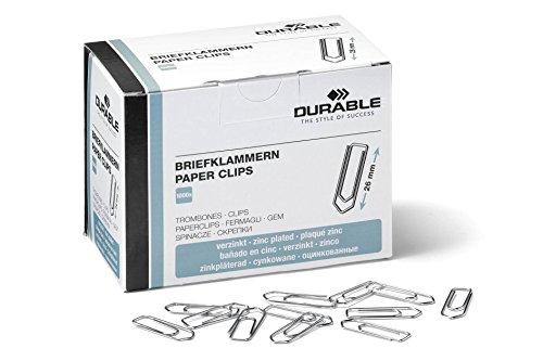 Durable 120725 Briefklammern (26 mm, verzinkt) 1000 Stück