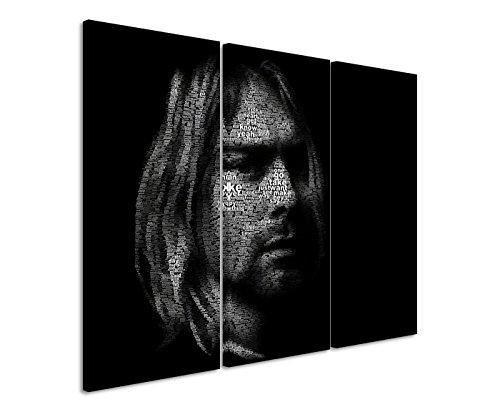 Leinwandbild 3 teilig Kurt_Cobain_Portrait_3x90x40cm (Gesamt 120x90cm) _Ausführung schöner Kunstdruck auf echter Leinwand als Wandbild auf Keilrahmen