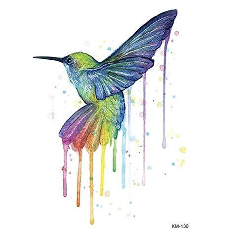 JUSTFOX - Temporäres Tattoo Kolibri Vogel Bunt Design Temporary Klebetattoo Körperkunst