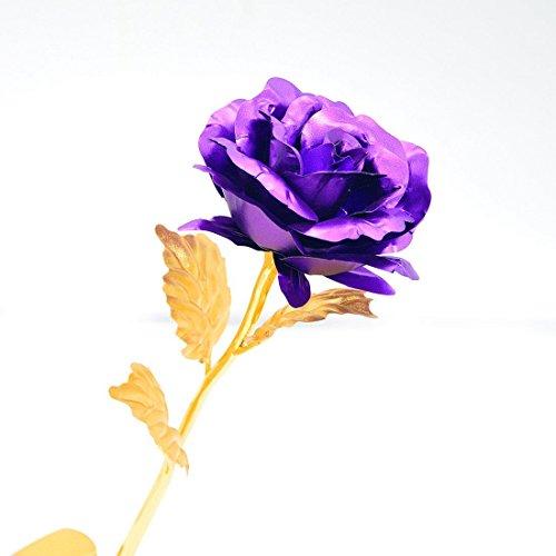 Onerbuy creative 24k oro fiore rosa fiore pieno regalo romantico per voi con box, fatto a mano e l'amore last forever (viola)