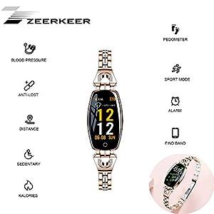 ZEERKEER Intelligente Armbanduhr für Frauen FitnessTracker Kette Jewlrey Herzfrequenzüberwachung Kalorienzähler Schrittzähler Wasserdicht Nachricht Erinnerung