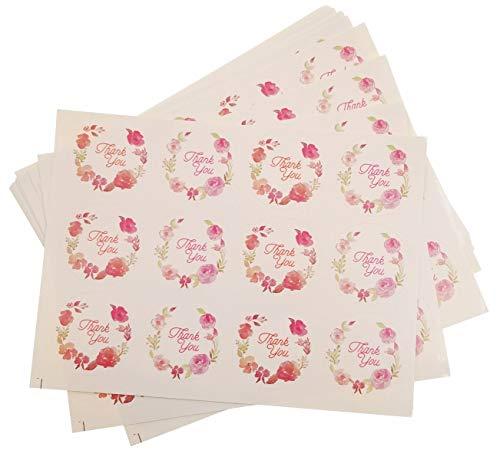 Jzk 120 thank you fiori bianco etichette adesive rotonde chiudipacco adesivo bomboniere chiudi pacco busta regalo decorazione scatola festa