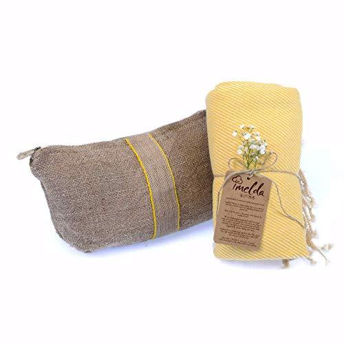 imeldacottons Strandtuch Streifen Tasche verschenkt 100 Baumwolle Terra gelb 100 x 180 cm (John Deere Container)