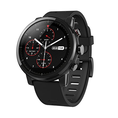 Smart Watch Original Xiaomi huami amazfit Pace 2 Stratos Smart Sports Watch pantalla OLED de fitness Rastreador GPS Bluetooth Certificado IP57, compatible con Android y iPhone + Wortek funda de plástico