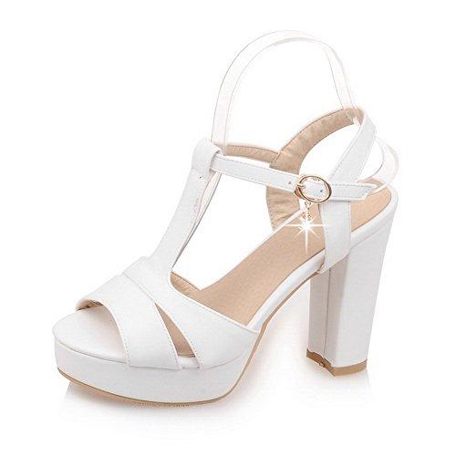 Mulheres Allhqfashion Fivela De Couro Cabeça De Peixe Sapatos De Salto Alto Sandálias Com Alta Branco