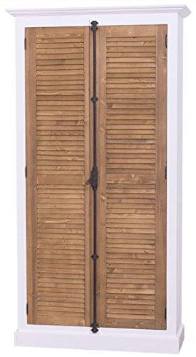 Casa Padrino Landhausstil Kleiderschrank Weiß / Braun 109 x 39 x H. 210 cm - Landhausstil Schlafzimmermöbel