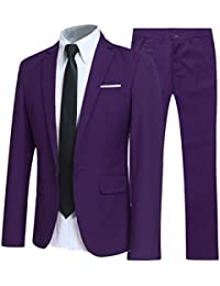 Allthemen Mens Suits 2 Piece Suit Slim Fit Wedding Dinner Tuxedo Suits for  Men Business Casual Jacket   Trousers 10… 887353947d63