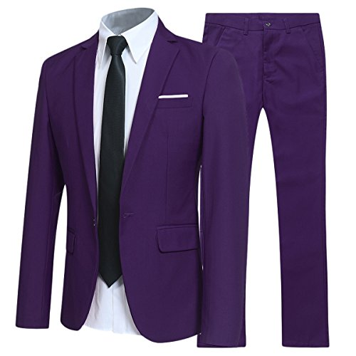 Allthemen Herren 2-Teilig Slim FIT Business Anzug Violett Medium