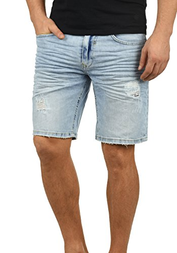 Blend Deno Herren Jeans Shorts Kurze Denim Hose Mit Destroyed-Optik Aus Stretch-Material Regular Fit, Größe:XL, Farbe:Denim Lightblue (76200) - Edge Bermuda Shorts