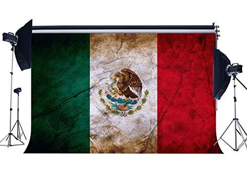 GzHQ Vinyl 5X3FT Mexikanische Flagge Hintergrund Mexiko Kulissen Shabby Eagle Fotografie Hintergrund für Person Unabhängigkeit und Hoffnung Frieden Religion Nationale Einheit Fotostudio Requisiten -