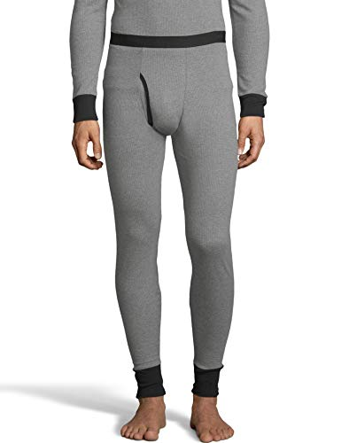 Hanes Mens 2-Color Fusion Knit Thermal Pant (123302) -Grey/Black -M -