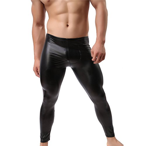 Herren Leder Hosen Wetlook Tight Pants Männer Schwarz Leggings Lange Hose (L)