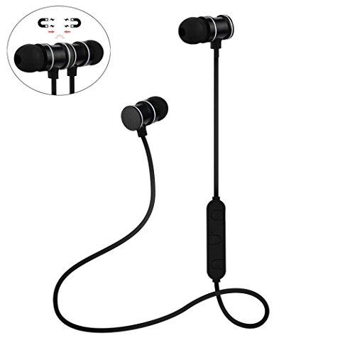 Türkei 3D Stereo Wireless Bluetooth Sport Metall Magnet Kühlschrankmagnet schnurlose 4.1Kopfhörer mit Mikrofon Noise Cancelling Kopfhörer Headset Kopfhörer V4.1Für iPhone & Android Smartphones etc., schwarz