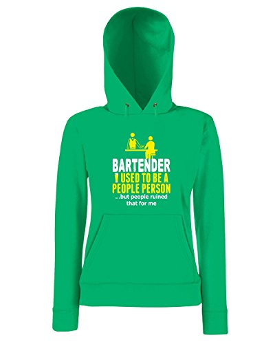 T-Shirtshock - Sweatshirt a capuche Femme BEER0177 Bartender Used To Be A People Person But People Ruined That For Me Vert