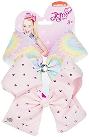 JoJo Bows Signature Rainbow Collection 2 x Large Hair Bows - Limited Rainbow Diamonte Edition - Best Present for Your Little Girl (Rainbow - Pink)