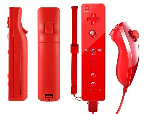 Price comparison product image AMGGLOBAL® Remote and Nunchuk Controller in Blue Red White Black Pink For Nintendo Wii Remote WII + FREE SILICONE COVER (Red)