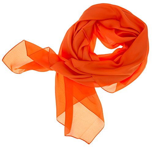 DOLCE ABBRACCIO Lady Sunshine Damen Seidenschal XXL Schal Halstuch Tuch Stola aus feinstem Chiffon mit Seide (Orange)