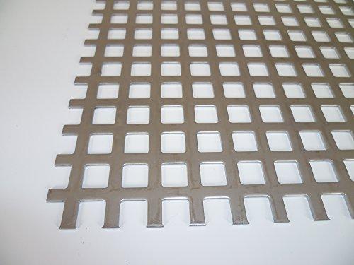B&T Metall Loch-Blech 10x10cm | Blech-Zuschnitt 1,5mm stark, Quadratlochung 10x10mm gerade QG 10-15 | Edelstahl-Blech nach Maß, V2A, gelocht, blank gewalzt | Loch-Gitter 1.4301, rostfrei