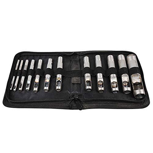 Preisvergleich Produktbild Qiuli Portable PDC Belt Punching 12-teiliges Set 3-19MM Puncher Ellipsentrainer Hohlstanzen Elektrisches Handwerkzeug